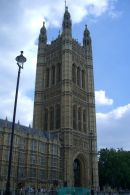 Tower above Sovereign's Entrance, Houses of Parliament, Westminster, London